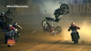 Motorcycle breaks in half at the Indy Mile Flat Track - WW #2