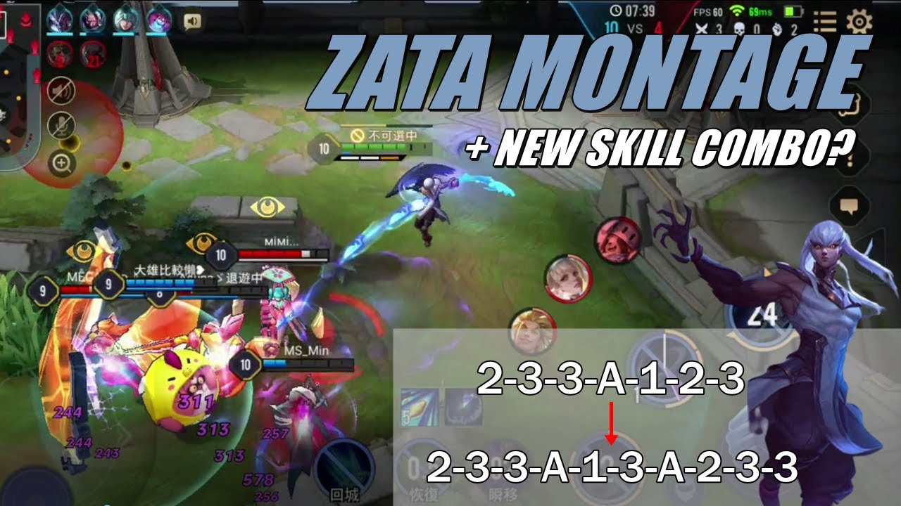 ZATA MONTAGE + NEW SKILL COMBO?  | 펜타스톰 자타 매드무비 + 패치 후 새로운 콤보 | AoV | RoV | 傳說對決 | Liên Quân Mobile