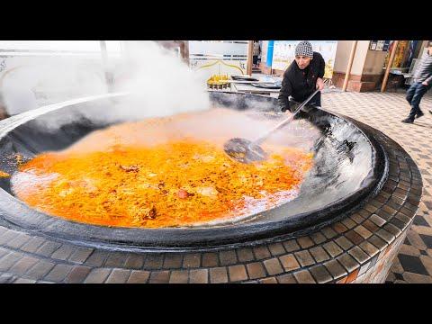 BIGGEST 4000KG Street Food in the WORLD – Extreme HORSE Plov HOT POT +  Street Food in Uzbekistan!!