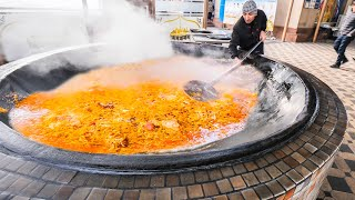 BIGGEST 4000KG Street Food in the WORLD - Extreme HORSE Plov HOT POT +  Street Food in Uzbekistan!!