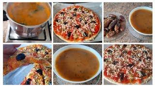 cena marroquí deliciosa, la harira + un pizza.