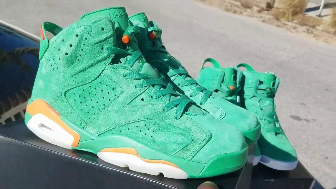 61fde4945a2814 Jordan 6 Green Gatorade Green Bottom   White Bottom Comparison ...