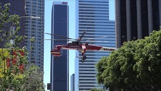 Sikorsky Skycrane flying in the middle of downtown Los Angeles