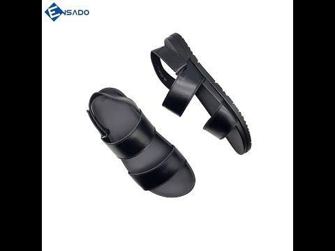 Dép Quai Hậu Giày Sandal Nam Da Bò Nguyên Tấm Cao Cấp Ensado DE2516 (Đen)