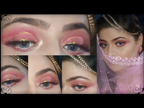 Soft pink glitter cut crease eye makeup tutorial// Neelam jahanzaib thumbnail