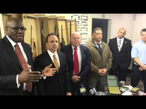 Bridgeport Mayor Joe Ganim joins members of the Bridgeport Police Department Violent Crime Reduction Task Force to reveal the seizure of more than 20 guns, and major quantities of illicit drugs in an action January 30, 2016