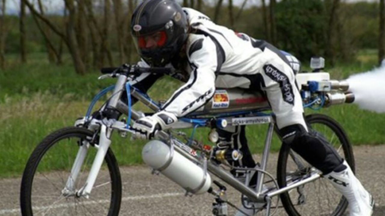 Rocket Powered Bicycle Breaks World Record Youtube