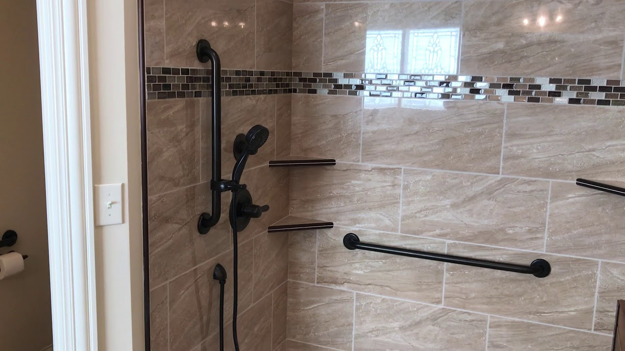 Curbless Tile Shower Oil Rubbed