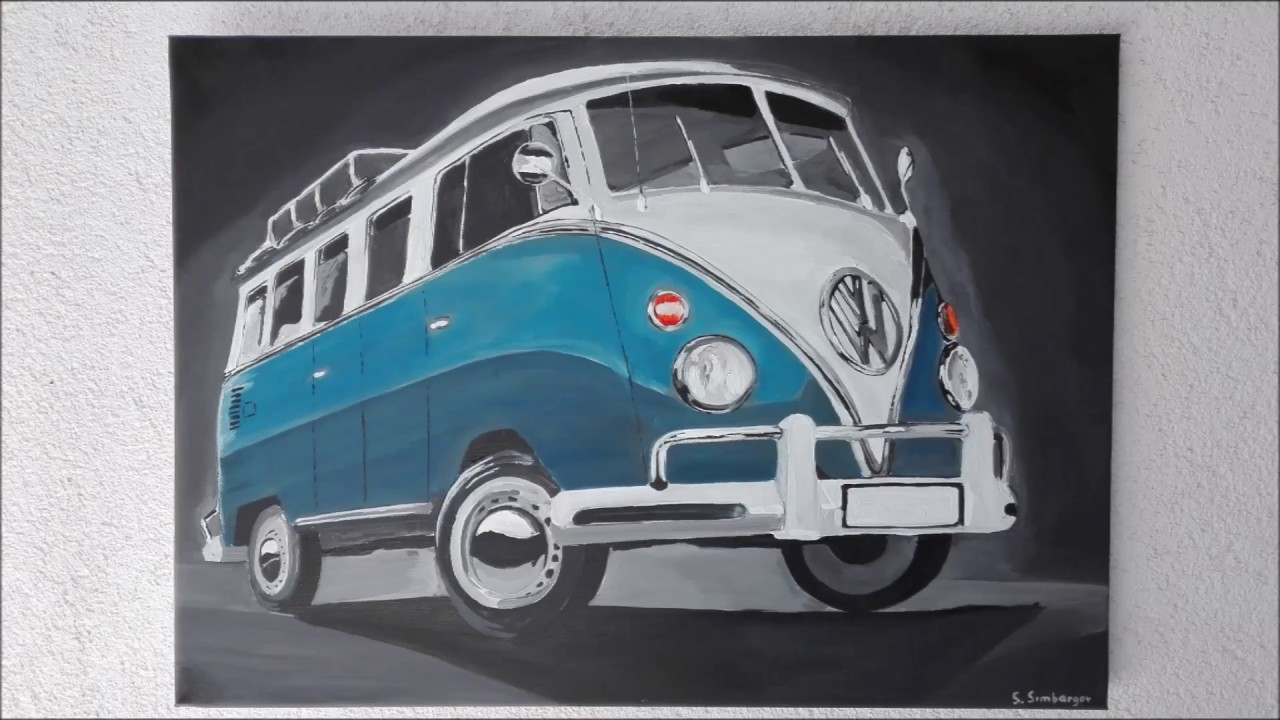 wie malt man einen vw bulli t1 how to draw a vw bulli t1 time lapse youtube. Black Bedroom Furniture Sets. Home Design Ideas