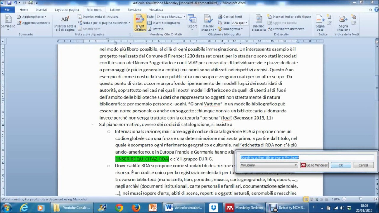 Mendeley 15 Inserimenti Citazioni E Riferimenti Nei Testi