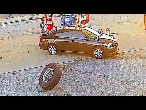 Random Tire Crashes Into Car