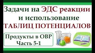 Использование таблиц потенциалов и расчет ЭДС реакции. Продукты в ОВР. Ч.5-1.