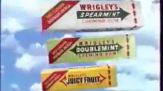 Реклама Wrigley Juicy Fruit, Doublemint, Spearmint 1990 е