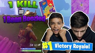 1 Kill = 1 Bean Boozled! Little Brother Gets First SOLO Victory Royale On Fortnite Battle Royale!