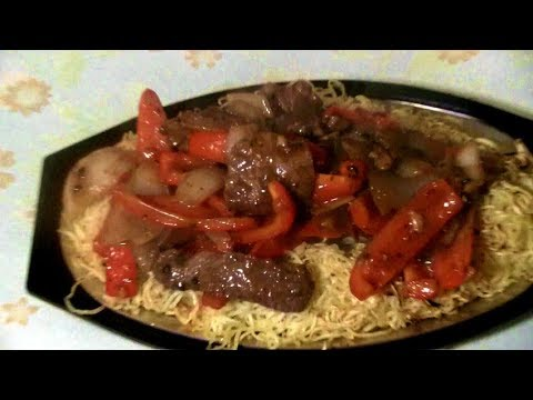 Pepper Beef Stir Fry With Crispy Noodles  (Sizzling Hot Plate Will Impress Your Family And Friends)