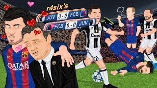 Parodia animada del Barcelona 0-0 Juventus y Juventus 3-0 Barcelona de Champions League