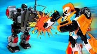 Видео про роботов и игрушки из мультфильмов - Тоботы на стройке. Игры в машинки