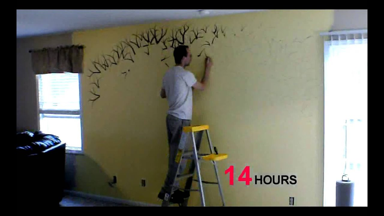 Time Lapse Of Me, Painting A Family Tree!   YouTube Part 67