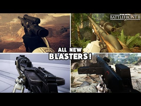 Battlefront 2 - ALL 4 NEW BLASTERS GAMEPLAY: Cycler Rifle, E-11D , T-21 & DL-18!
