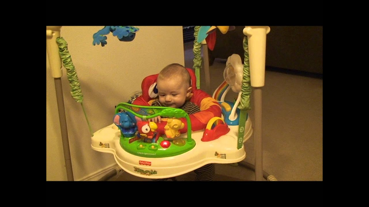 80f70b9a9fc7 Fisher-Price Rainforest Jumperoo in action - YouTube