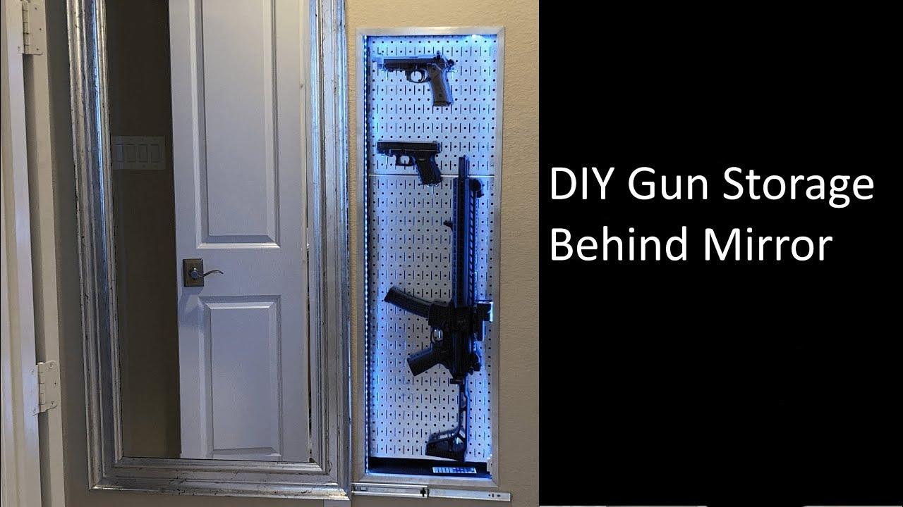 Diy In Wall Gun Storage Behind Sliding Mirror With Parts List