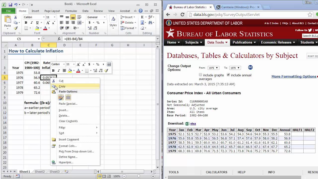 how to calculate inflation using excel youtube
