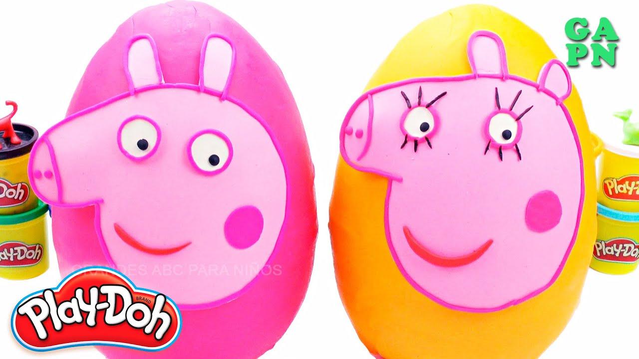 Gigante Huevos Sorpresa Play Doh de Mamá Cerdo / Aprender Los Colores con Play Doh en español