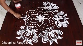creative lotus kolam with 11x6 dots - simple friday muggulu designs - easy rangoli designs