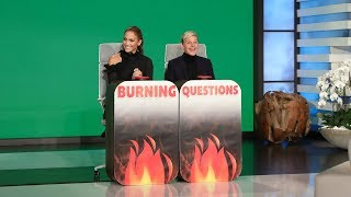 "Ellen put her friend Jennifer Lopez in the hot seat to answer some of her ""Burning Questions."" Find out what the international pop star wears to bed, the most rebellious thing she ever did as a kid, and her favorite body part on boyfriend Alex Rodriguez.  #JenniferLopez #JLo #TheEllenShow"
