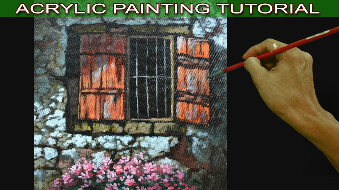 Acrylic painting tutorial on how to paint old house window for Classic house tutorial