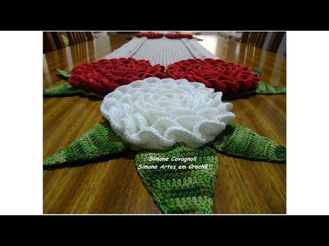 Caminho e Centro de Mesa Mega Rosas! Simone Cavagnoli / Simone artes em croche.