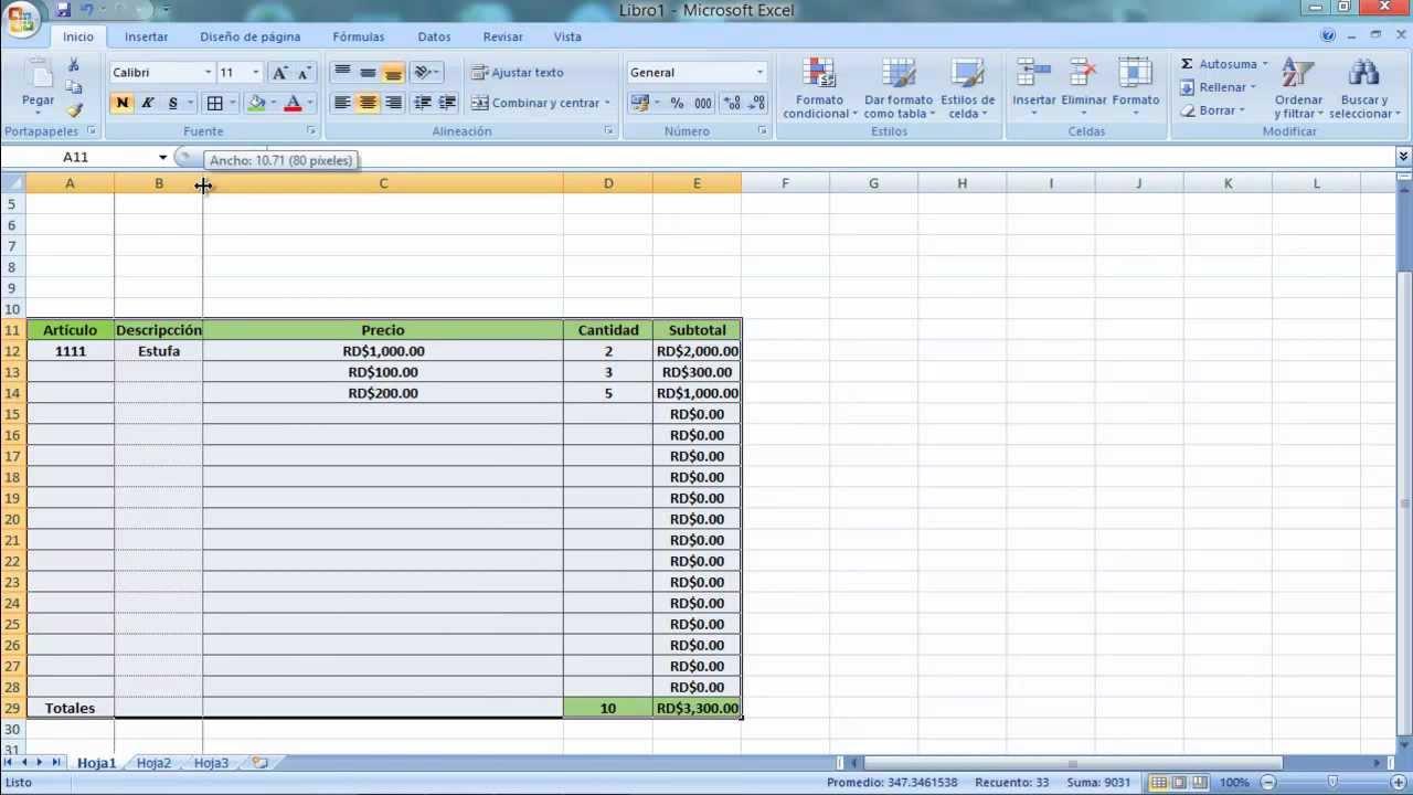 cómo crear una factura con cálculo automático con micrsoft excel