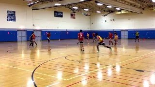 U15 Red City practice with size 1 soccer ball on a basketball court to develop control and skills.