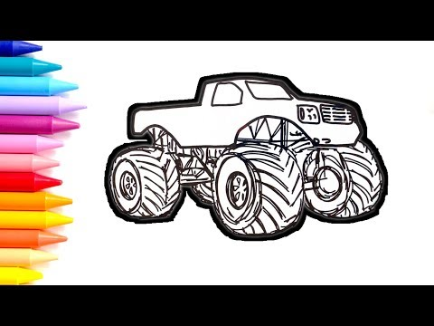 Monster Truck Coloring Pages, How To Draw A Monster Truck, Drawing For Kids
