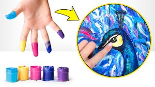 How to Paint Magnificent Peacock Without Brushes? Amazing Tutorial!🦚🎨🖐🏼
