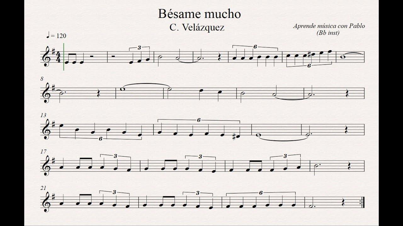Besame Mucho Bb Inst Clarinete Trompeta Saxo Sop Tenor Partitura Con Playback By Aprende Musica