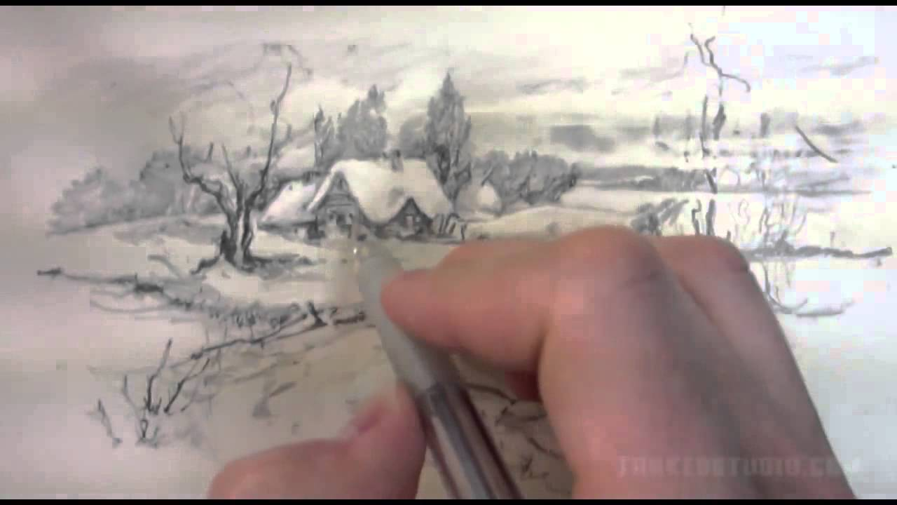 Karlı Manzara çizimi Kış Manzarası çizimi Youtube