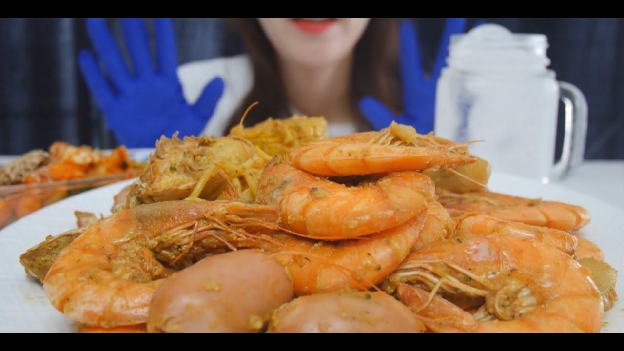 EATING SOUNDS] Boiling crab&shrimp / 미국식 해물찜 이팅 사운드 /이국적인 맛!