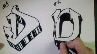 "How to draw Graffiti Letter ""D"" on paper"