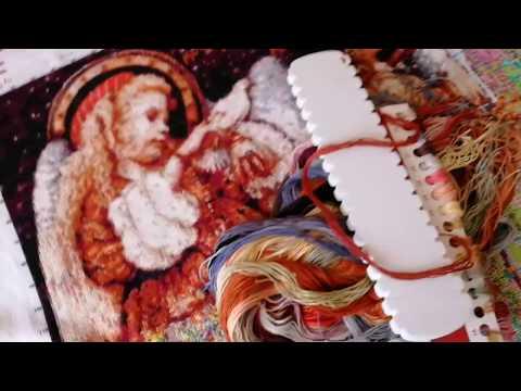 Вышивка крестом. Отчёт по вышивке Три ангела. Китайский набор для вышивки