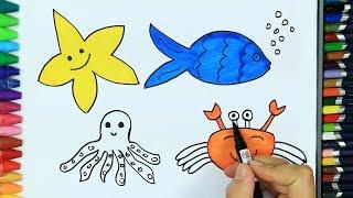 Deniz Hayvanları Nasıl Çizilir?💦 | Çizim Nasıl Yapılır? | Çocuklar İçin Boyama, Renkleri Öğrenme