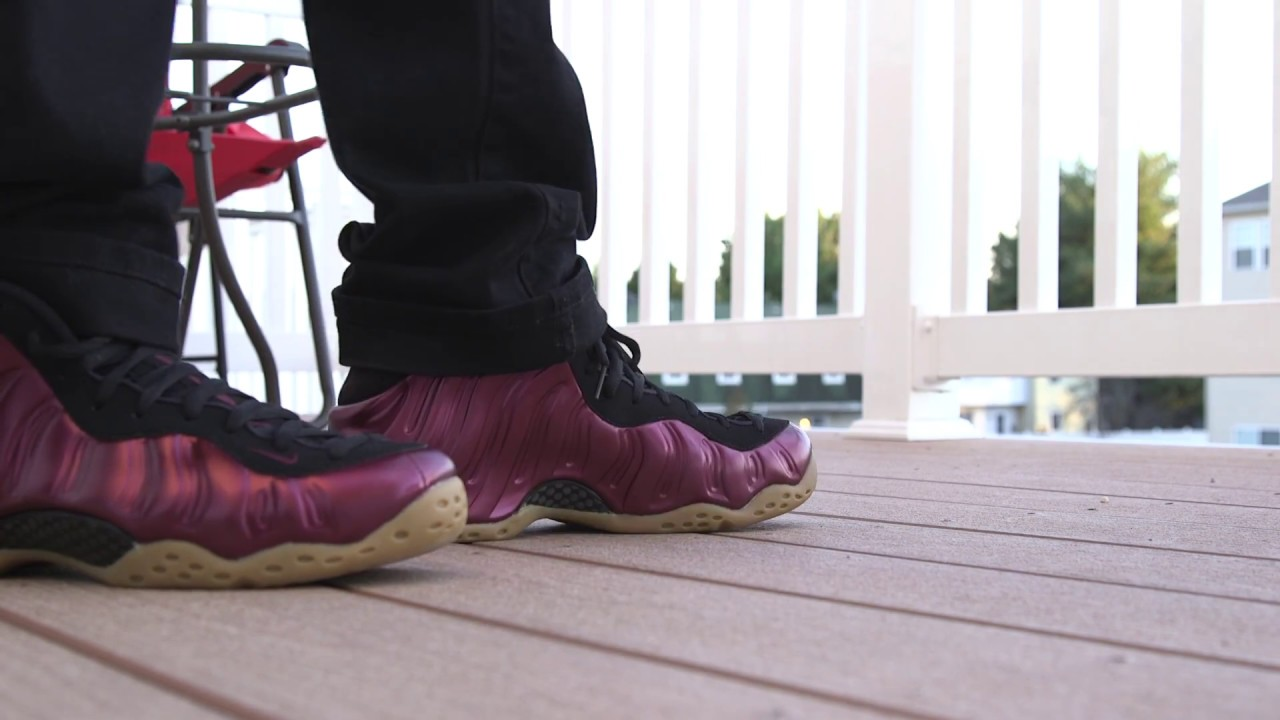 6456217f3852e Nike One Maroon Foamposite Review and On Foot - YouTube