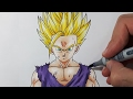 How To Draw Gohan Super Saiyan 2 - Step By Step Tutorial video