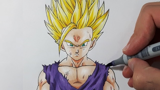 How To Draw Gohan Super Saiyan 2 - Step By Step Tutorial