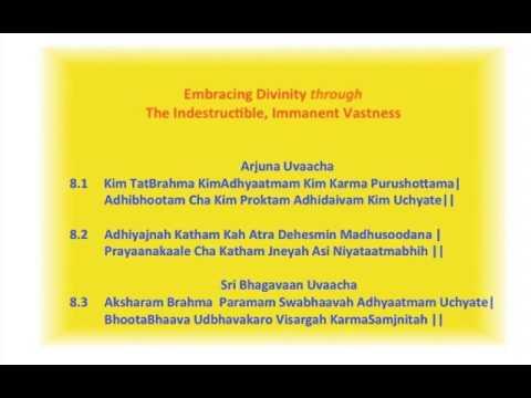 Bhagavad Gita. Akshara Brahma Yoga. Chapter 8. Part 1 of 5. Meaning of Slokams 8.1 - 8.3
