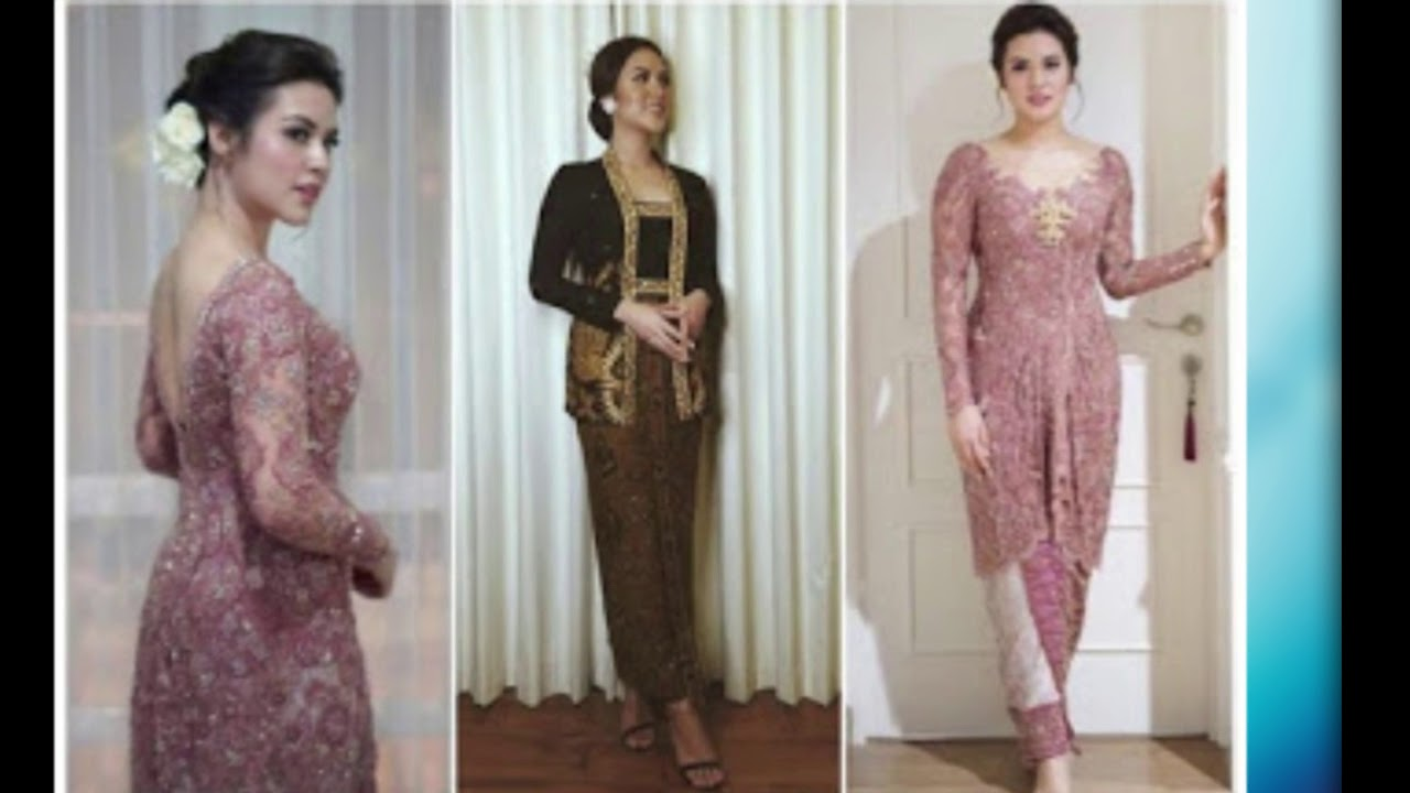 Dress Kebaya Modern Brokat Long Dress Pendek Selutut
