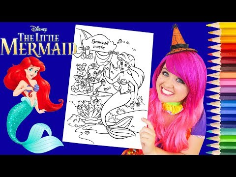 Coloring Ariel Halloween Little Mermaid Coloring Page Prismacolor Colored Pencil | KiMMi THE CLOWN