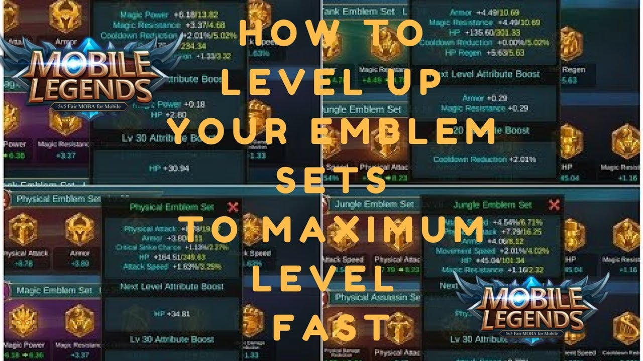 Mobile Legends How to reach MAX LEVEL EMBLEM SETS FAST (Explained)