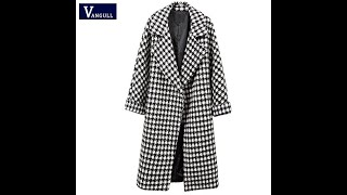 Женское шерстяное пальто vangull теплое повседневное длинное в черно белую клетку с отложным