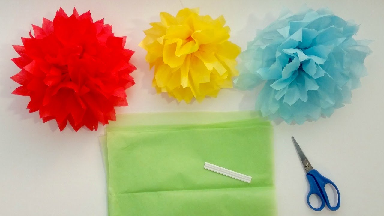 How To Make Tissue Paper Pom Pom Flowers In 4 Easy Steps Youtube
